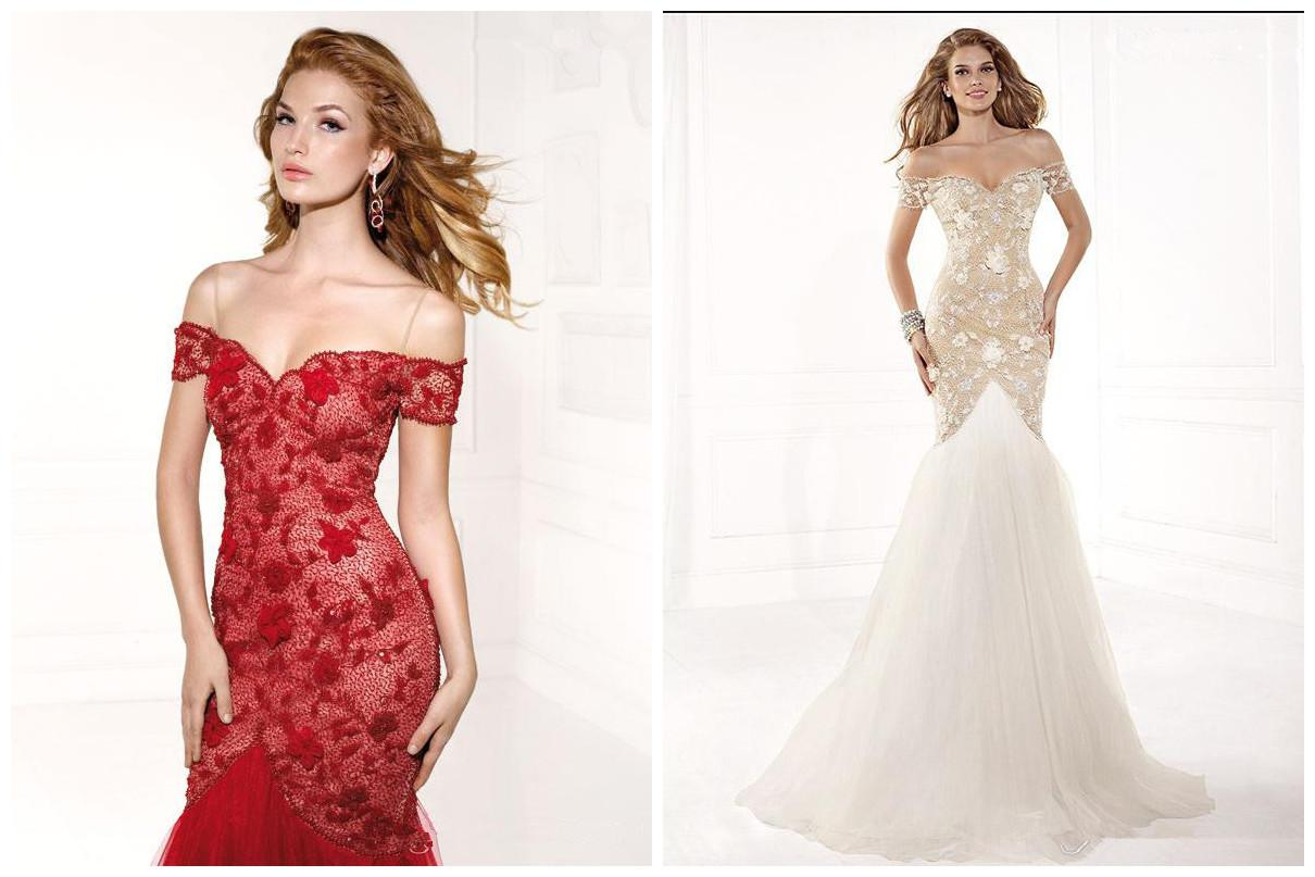 White Red Designer Lace Backless Cheap Mermaid Ball Gown