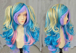 Wholesale Multi Color Cosplay Wigs - Wholesale cheap Hot Sell! NEW Cosplay Lolita Multi-Color Curly With Two Ponytails Wig