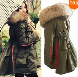 Wholesale Women S Long Snow Coat - New arrival! High Quality Real Raccoon Fur Collar Army Green Women's Winter Snow Cotton Parka Coat Fur Collar Hood Jacket