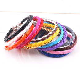 Wholesale European Leather Bracelets Mixed Colors - Hot Sell 120pcs Mix 6 colors 925 Silver Jewelry European Braided Leather Beads Bracelets Fit Gift Mix Colors jewelry