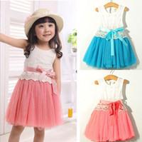 Wholesale princess style prom dresses pink - Wholesale - Lace Gauze Bow Vest Dress Dresses Girl Prom Dresses Summer Princess Dress tutu skirt 5p l