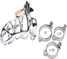 Wholesale Sex Padlock Chastity - Stainless steel chastity devices 3 rings to choose penis cock cage penis ring with padlock sex toy
