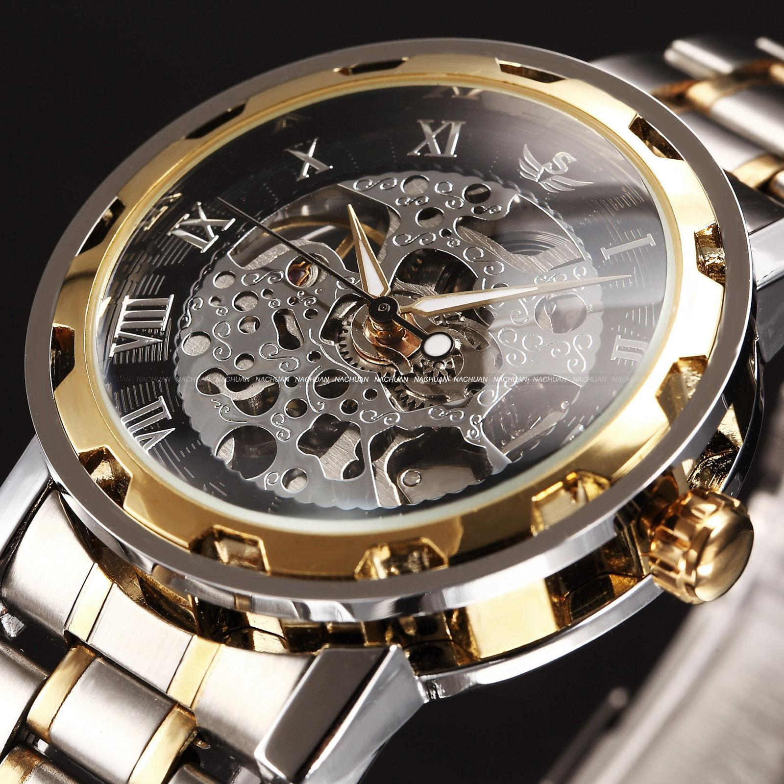 skeleton hand steampunk watch mechanical wat winding analog watches transparent mens winner
