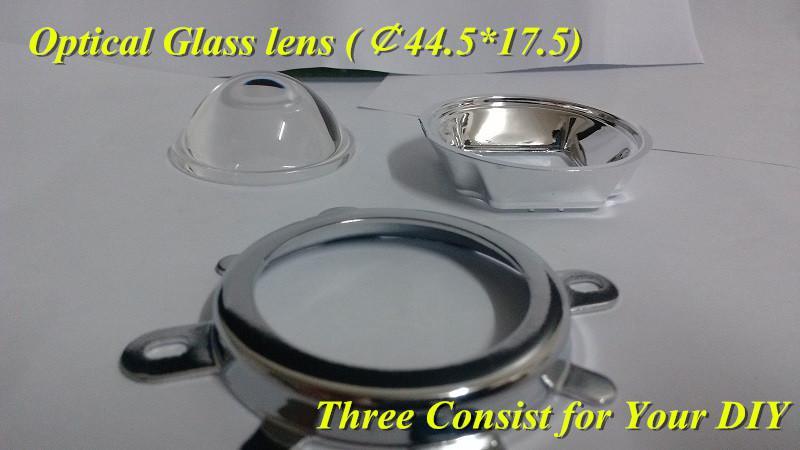リフレクタカップの60のビーム角は20W-150Wの高出力LED自由透過のためのD44MM二次光学ガラスレンズ