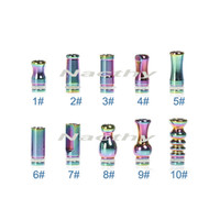 Wholesale Metal Drip Tip Style - 2014 Newest Colorful Rainbow Drip Tip Rich Styles Stainless Steel drip tips Metal Atomizer Mouthpiece for EGO 510 Clearomizer E Cigarette