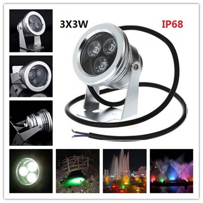 12V 3x3W 9W Incrustado LED Luz subacuática Impermeable IP68 Lámpara sumergible Lámparas de piscina de acero inoxidable para iluminación de paisajes al aire libre