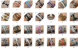 Wholesale Multi Deals - Stock cheap deal HOT Sale 50 Styles Mix Bracelets Multi Layer Braided Leather Handmade Combination Pattern Colorful Charm Bracelets