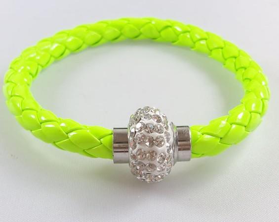 2018 Hot New Sale / PU Läder Glänsande En Singel Crystal Ball Magnetisk Armband Manschett