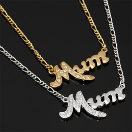 online shopping U7 Mother s Day Gift MUM Pendant Necklace K Real Gold Platinum Plated Rhinestone Fashion Women Jewelry Accessories Perfect Gift