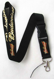 Key Chain Drink Canada - Hot Sell - New 20 pcs Drink Budweiser Logo Style Neck Lanyard with Clip Key ID phone Chain *Free shipping*
