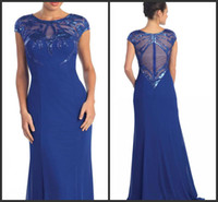 2025 royal blue chiffon sequins crew floor length mother of ...