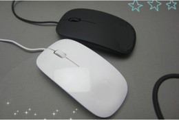 Wholesale apple laptop mouse - New Fashion USB Wired Ultra-thin Mouse for Apple Mac Laptop Desktop white