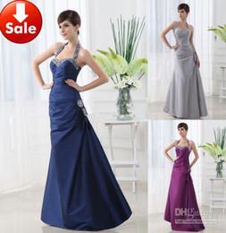 Wholesale Taffeta Sequin Halter Neck - Cheap Sexy Gray Blue Purple Halter Beads Taffeta Long Prom dresses Formal evening dresses Gowns 2013