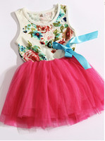 Wholesale Pleated Flowers - new girls dresses girl tutu dress baby clothing flowers kids cotton lace dress Children Skirt Child Floral girls dress 4p l