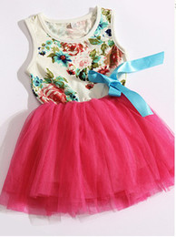 Wholesale Dress Children - new girls dresses girl tutu dress baby clothing flowers kids cotton lace dress Children Skirt Child Floral girls dress 4p l