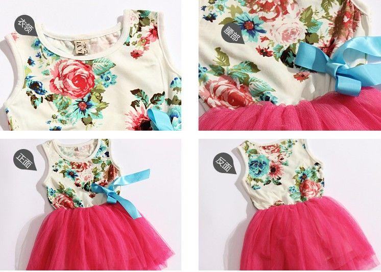 new girls dresses girl tutu dress baby clothing flowers kids cotton lace dress Children Skirt Child Floral girls dress 4p/l