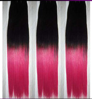 Oxette silk straight pink ombre two tone human hair weaving ...