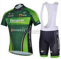 Wholesale Europcar Sleeve - 2014NEW green Europcar team Outdoor tour sports short sleeve cycle bicycle bike Cycling top Jersey sport shirt athletic wear BIB shorts sets
