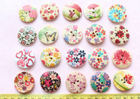 Wholesale Colorful Wooden Buttons - Set of 100pcs - Colorful Floral large Paint Pattern wood wooden Buttons 30mm wholesale free shipping-MK0071