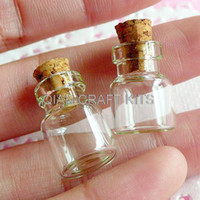 Wholesale Sweet Jars - Set of 15pcs Mini Glass Jars Bottles with Corks (18mm x 13mm) - for Miniature Food Sweets Craft, Kitsch Jewelry Pendants Making