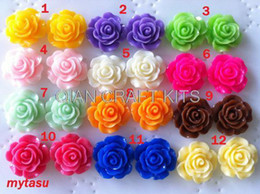 Wholesale Earrings Pc Mix - set of 150 pcs Mixed Resin Cabochon Flowers14 mm Rose cabochon.flower kit,.Great for bobby pin blank , ring, Earring ,pendant