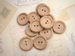 Wholesale Natural Wooden Buttons - set of 100pcs Large Round Wooden Buttons light natural color wood decor 30mm wholesale free shipping