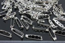 Wholesale Locking Pin Backs Wholesale - Set of 150pcs Metal Silver tone Brooch back Pins with safety lock feature catch bars 27mm-JS0090