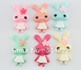 Wholesale Cameo Resin Setting Pendant - set of 25pcs large rabbit bunny (55x32mm) cabochon flat back resin decoden scrapbook Kawaii cameo- Bobby Pins, Pendants-SZ0437