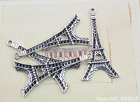 Wholesale Beaded J - set of 20pcs antique Silver Metal zinc alloy Eiffel tower 56*22mm Flatback DIY beads pendants charm for J -AY0010