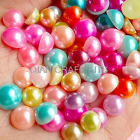 Wholesale Cabochons 8mm - Set of 500pcs Colorful Fake Pearl Cabochons Mix (Round   Half   Assorted Colors) (8mm, 9mm and 10mm)