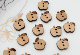 Wholesale Buttons For Crafts - 17mm set of 200pcs coffee Wooden Apple Buttons flowers ornament for jewelry, scrapbooking, bags, crafts