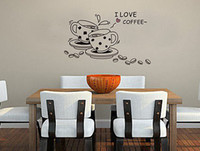 Wholesale Famous Quotes - I LOVE COFFEE QUOTE Wall Sticker Decor Art Vinyl Room 70*50cm
