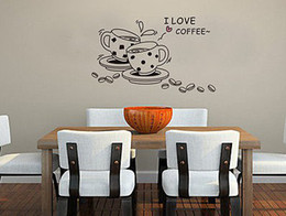 Wholesale Quotes Movies - I LOVE COFFEE QUOTE Wall Sticker Decor Art Vinyl Room 70*50cm
