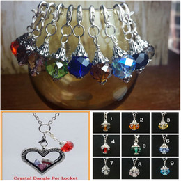 Wholesale Dangles Charms Clips - Crystal Element Dangle for Floating Glass Locket Chains and Charm Bracelets Necklace Clip On
