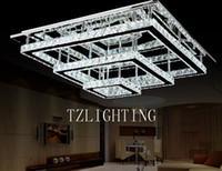 sala de estar iluminação retangular venda por atacado-K9 Lâmpada Pingente de Cristal Moderna Simples LEVOU Lâmpada Do Teto Retangular de Aço Inoxidável Sala de estar Lustre de Luz