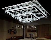 moderna lámpara de cristal led rectangular al por mayor-K9 Lámpara Pendiente de Cristal Moderna Simple LED Lámpara de Techo Rectangular de Acero Inoxidable Sala de estar Araña de Luz