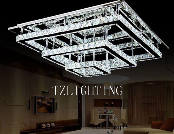 K9 Lâmpada Pingente de Cristal Moderna Simples LEVOU Lâmpada Do Teto Retangular de Aço Inoxidável Sala de estar Lustre de Luz