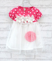 Wholesale Yellow Polka Dot Dress - Wholesale - summer girls tutu dress girl polka dot dress lace skirt 4 color free shipping