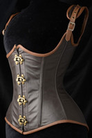 Wholesale Xxl Sexy Corsets - Free Shipping 2016 New Sexy Women's Steel Boned Corset Underbust Tops 5323 Waist Cincher Grand Steampunk Leather Clasp Corset Plus Size XXL