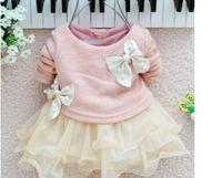 Wholesale Korean Cute Dress Lines - Wholesale - New Korean Baby Girl's Cute Dresses Kids Long Sleeve Big Bow Pearl Lace Yarn TUTU Dress 4p l