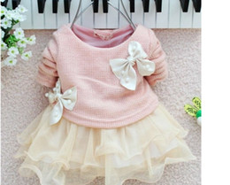 Wholesale big baby tutus - Wholesale - New Korean Baby Girl's Cute Dresses Kids Long Sleeve Big Bow Pearl Lace Yarn TUTU Dress 4p l