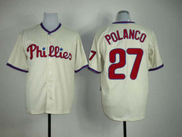 Wholesale Cheap Baseball Uniform - buy cheap Phillies #27 Placido Polanco Embroidered Cream baseball jerseys brand Majestic baseball uniforms shirts high quality sports jersey