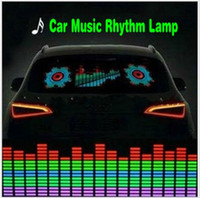Wholesale El Car Flashing Sticker - Car Music Rhythm Lamp Sound Music Voice-activated Colorful Flash LED Light EL Sheet Car Stickers Exterior Accessories