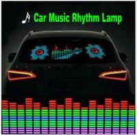 lámpara de ritmo de música de coche al por mayor-Lámpara de ritmo de la música del automóvil Sonido Música activada por voz Colorido Flash Luz LED Hoja EL Pegatinas de auto Accesorios exteriores