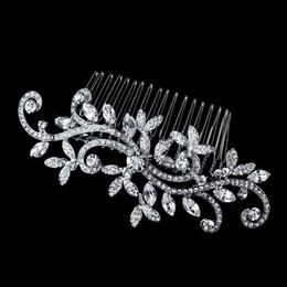 Casamento Bridal Hair Comb Jóias Flor Tiaras de Cristal Acessórios Para o Cabelo Sparkly Noiva Pentes de Cabelo Em Estoque barato Novo venda por atacado