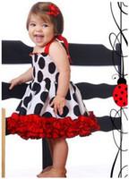 Wholesale Red Summer Tape - Wholesale - 2014 NEW girls dresses sleeveless braces polka dot ruffle baby girls tape dress 5pcs lot