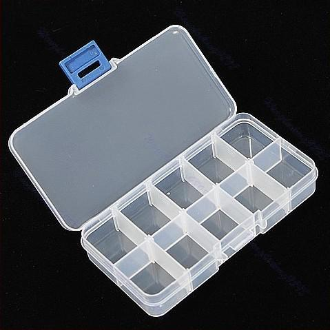 800pcs Adjustable 10 Compartment Plastic Clear Storage Box for Jewelry Earring Tool Container