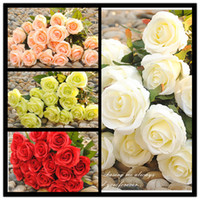 Wholesale Cheap Silk Red Roses - 2014 New Styles Artificial Rose Silk Craft Flowers Real Touch Flowers For Wedding Christmas Room Decoration 7 Color Cheap Sale Free shipping