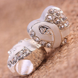 Wholesale Enamel Ribbon Charms - 25pcs Crystal Rhinestone Heart White Enamel Ribbon Breast Cancer Awareness Charm European Beads For Bracelet Chain Jewelry Findings
