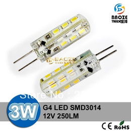 Wholesale Halogen Light Bulbs G4 - 100X DHL Free shipping High Power SMD 3014 3W 12V G4 LED Lamp Replace 30W halogen lamp 360 Angle LED Bulb lamp lighting warranty 2 years